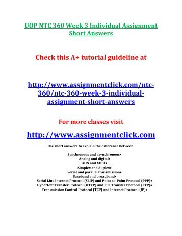 UOP NTC 360 Week 3 Individual Assignment Short Answers