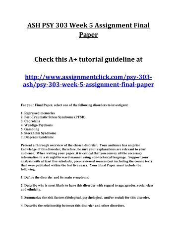 ASH PSY 303 Week 5 Assignment Final Paper