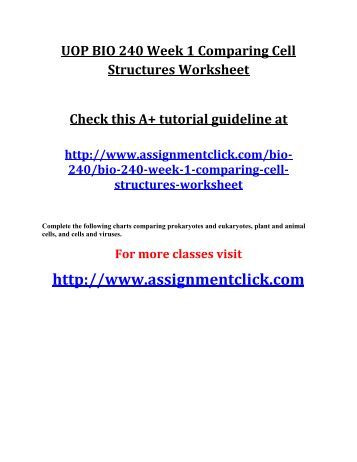 Cell Structure Worksheet Bio 240: comparing,