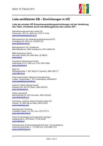Liste zertifizierter EB – Einrichtungen in OÖ - Institut für Berufs