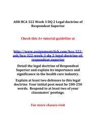 ASH HCA 322 Week 3 DQ 2 Legal doctrine of Respondeat Superior