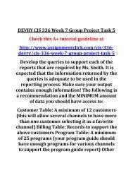 DEVRY CIS 336 Week 7 Group Project Task 5