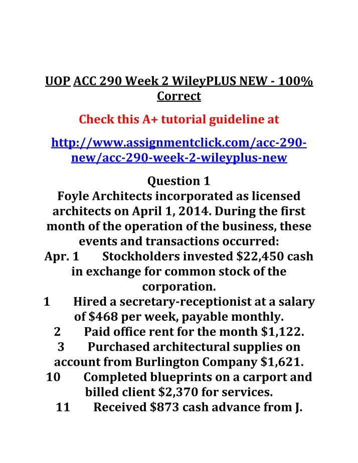 acc 290 week 2 wileyplus The cookie settings on this website are set to 'allow all cookies' to give you the very best experience please click accept cookies to continue to use the site.