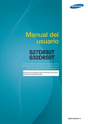 "Samsung 32"" LED Monitor - LS32D85KTSR/ZA - User Manual ver. 11.0 (SPANISH,5.37 MB)"