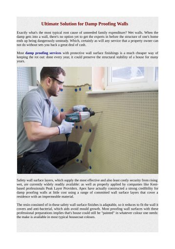 Ultimate Solution for Damp Proofing Walls