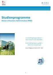 Studienprogramme Master of Business Administration (MBA)