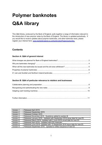 Polymer banknotes Q&A library