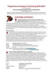 Programma Vorming en Toerusting 2016-2017 Eenmalige activiteiten