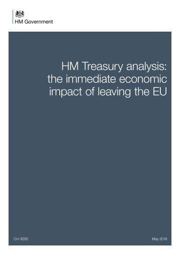 HM Treasury analysis the immediate economic impact of leaving the EU