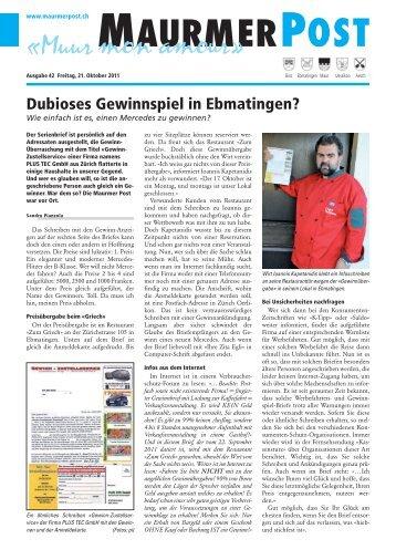 Dubioses Gewinnspiel in Ebmatingen?