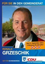 für sie in den gemeinderat ronald grzeschik - CDU Schwanewede