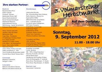 Sonntag, 11.00 - 18.00 Uhr 9. September 2012 Auf dem Dorfplatz