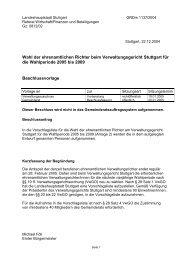 Wahl der ehrenamtlichen Richter beim Verwaltungsgericht Stuttgart ...