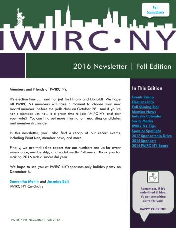 2016 Newsletter | Fall Edition