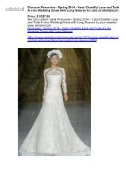 Discount Pronovias - Spring 2014 - Yana Chantilly Lace and Tulle A-Line Wedding Dress with Long Sleeves for sale at oibridalcom
