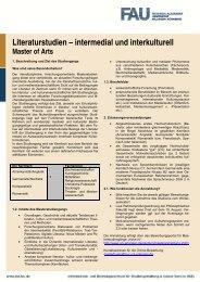 Literaturstudien – intermedial und interkulturell Master of Arts
