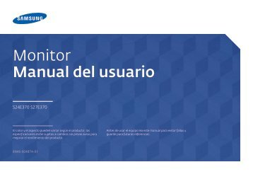 """Samsung 23.6"""" Monitor with Wireless Charging - LS24E370DL/ZA - User Manual ver.  (SPANISH,1.84 MB)"""