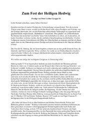 Zum Fest der Heiligen Hedwig - Deutschland Journal