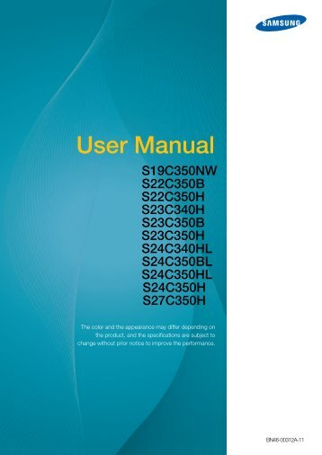 "Samsung Samsung Simple LED 27"" Monitor with High Glossy Black Finish - LS27C350HS/ZA - User Manual (ENGLISH)"