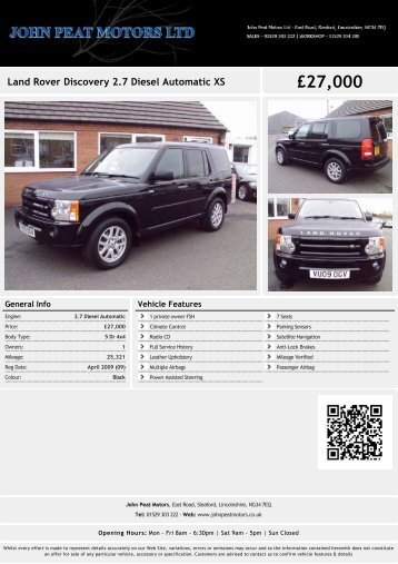 Land Rover Discovery 2.7 Diesel Automatic XS ... - John Peat Motors