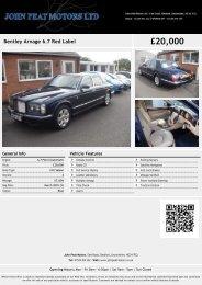 Bentley Arnage 6.7 Red Label £19999 - John Peat Motors