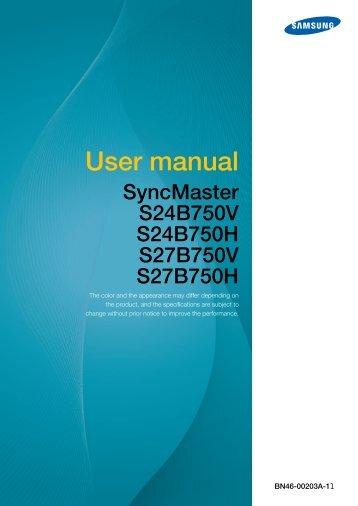 "Samsung 24"" Wide SB750 Series LED Monitor - LS24B750VSG/ZA - User Manual ver. 1.0 (ENGLISH,4.68 MB)"