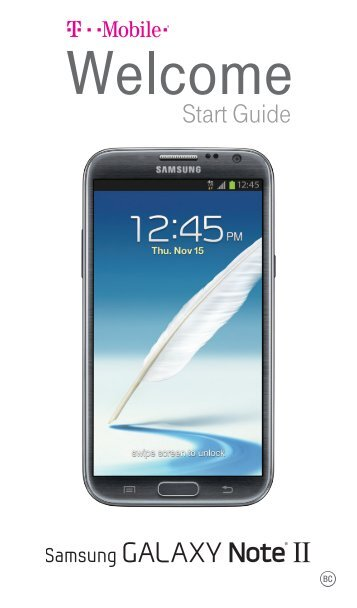 Samsung Galaxy Note II 16GB (T-Mobile) - SGH-T889PSATMB - Quick Start Guide ver. MK3_F3 (ENGLISH(North America),3.82 MB)
