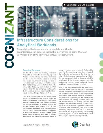 • Infrastructure Considerations for Analytical Workloads