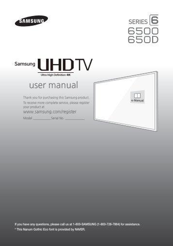 """Samsung 60"""" Class JU650D 6-Series 4K UHD Smart TV - UN60JU650DFXZA - Quick Guide ver. 1.0 (ENGLISH,4.27 MB)"""