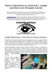Séjours linguistiques ou volontariat  voyager autrement avec Echappée Australe