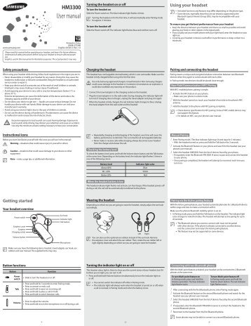 Samsung HM3300 Bluetooth Headset, Marble White - BHM3300NWACSTA - User Manual ver. 1.0 (ENGLISH,0.94 MB)