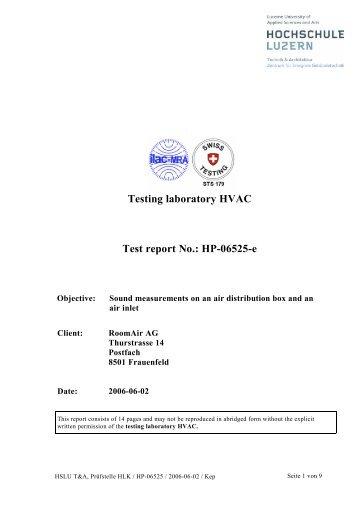 Testing laboratory HVAC Test report No.: HP-06525-e