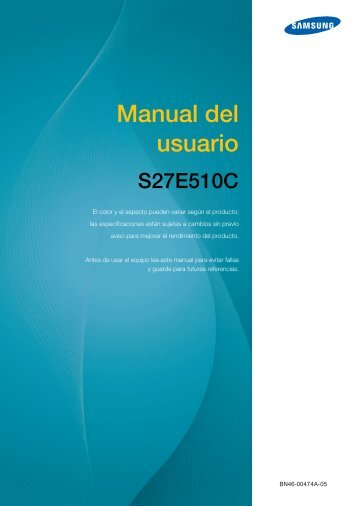 """Samsung 27"""" Curved LED Monitor with High Glossy Finish - LS27E510CSY/ZA - User Manual ver. 1.0 (SPANISH,3.14 MB)"""