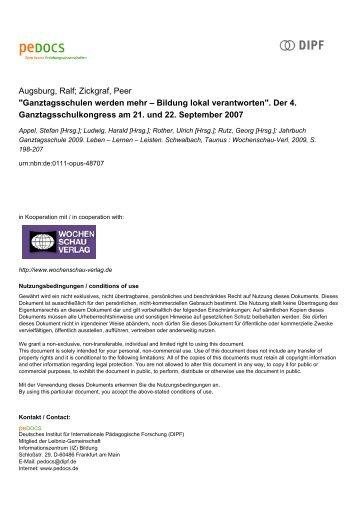Jahrbuch Ganztagsschule 2009 Leben – Lernen – Leisten - peDOCS
