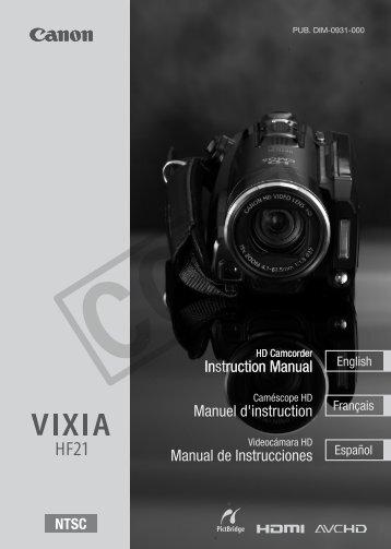 Canon VIXIA HF21 - VIXIA HF21 Instruction Manual