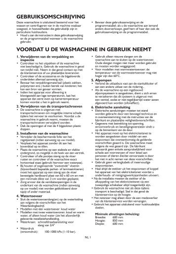 KitchenAid Dallas 1400 - Washing machine - Dallas 1400 - Washing machine NL (859201212010) Istruzioni per l'Uso