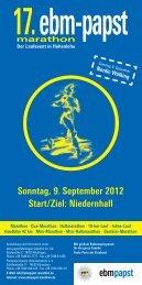 Sonntag, 9. September 2012 Start/Ziel: Niedernhall