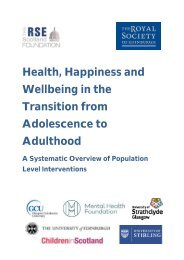 Health Happiness and Wellbeing in the Transition from Adolescence to Adulthood