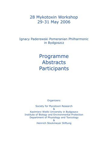 Programme Abstracts Participants - Society for Mycotoxin Research