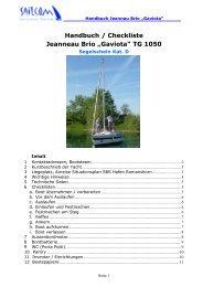 "Handbuch / Checkliste Jeanneau Brio ""Gaviota"" TG 1050 - SailCom"
