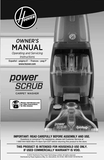 Hoover Carpet Basics™ Power Scrub Deluxe Multifloor Carpet Cleaner - FH50170PC - Manual