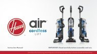 Hoover Air™ Cordless Lift Upright Vacuum - BH51120PC - Manual