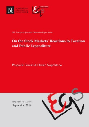 On the Stock Markets' Reactions to Taxation and Public Expenditure