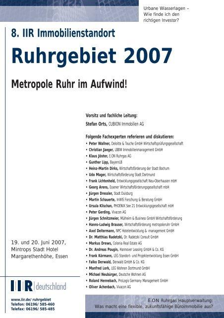8. IIR Immobilienstandort Ruhrgebiet 2007 Metropole Ruhr im ...