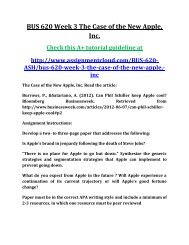 ASH BUS 620 Week 3 The Case of the New Apple