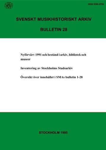stockholm 1995 svenskt musikhistoriskt arkiv bulletin 28