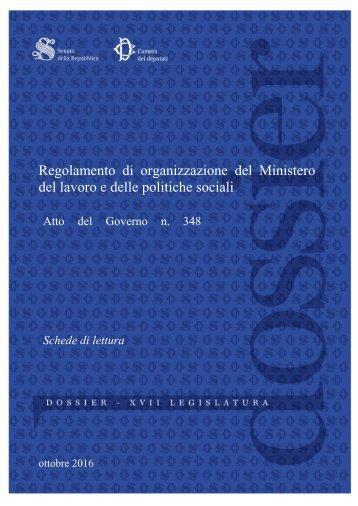 Regolamento di organizzazione del Ministero del lavoro e delle politiche sociali