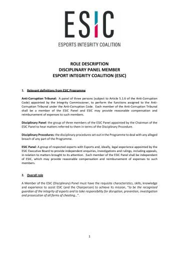 ROLE DESCRIPTION DISCIPLINARY PANEL MEMBER ESPORT INTEGRITY COALITION (ESIC)
