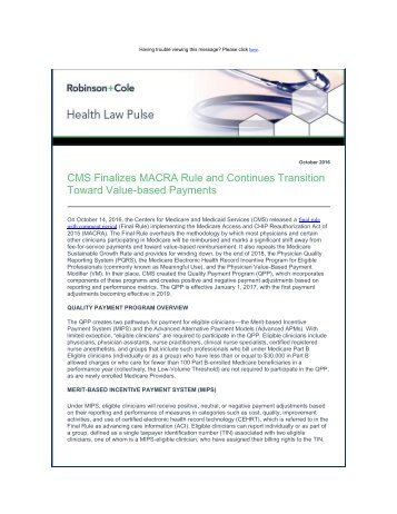 Toward Value-based Payments