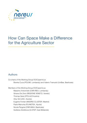 How Can Space Make a Difference for the Agriculture Sector